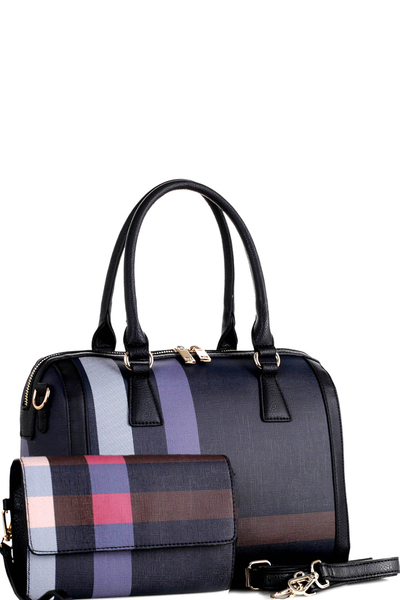 Plaid Check Doctor Bag Boston Satchel Wristlet SET