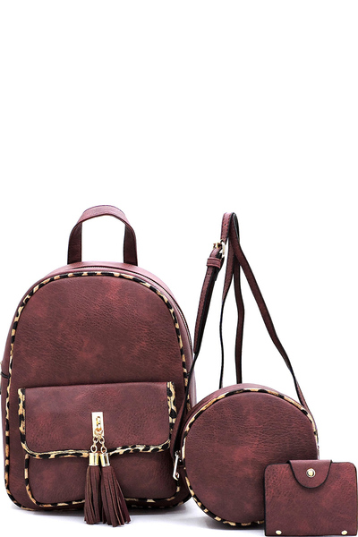 Leopard Trimmed 3-in-1 Backpack