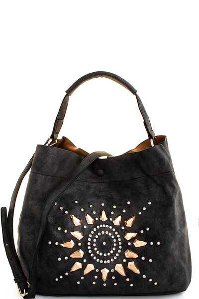 2IN1 STUD AND RHINESTONE SOLA SATCHEL WITH LONG STRAP
