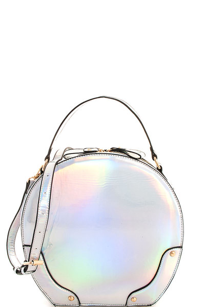 2in1 Chic Glossy Designer Round Satchel with Long Strap