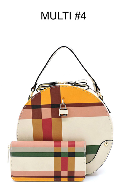 Plaid Check 2-in-1 Round Satchel