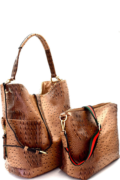 Ostrich Embossed Side Pocket 2 in 1 Tall Hobo