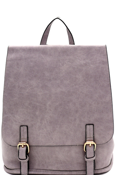 Buckle Accent Flap Fashion Backpack