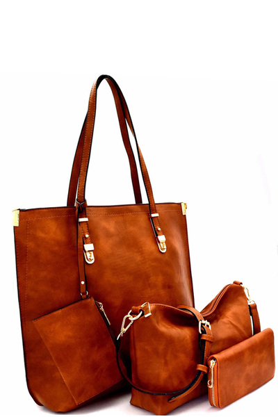 Classy 4 in 1 Tall Shopper Tote Wallet SET