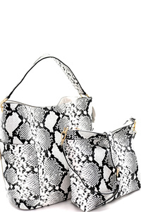 Snake Print 2 in 1 Hobo Bag with Crossbody