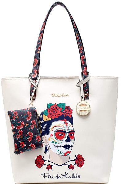 Authentic Frida Kahlo Skull Tall Shopper Tote