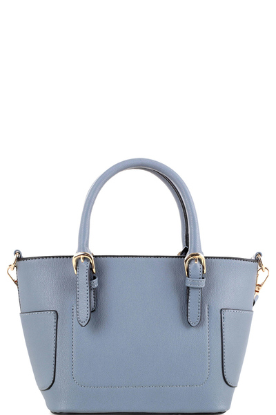 Side Pocket Accent Belted 2-Way Medium Satchel