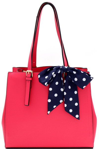 Polka Dot Scarf Accent 3-Compartment Tote