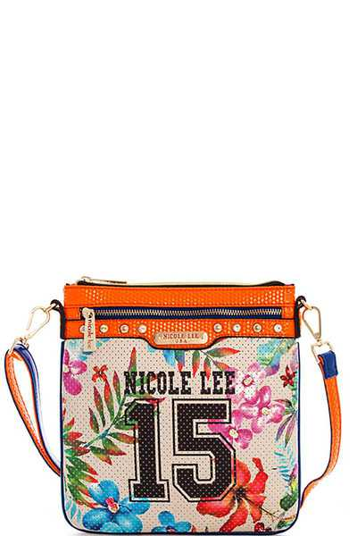Nicole Lee TROPICAL PRINT MESH CROSSBODY BAG