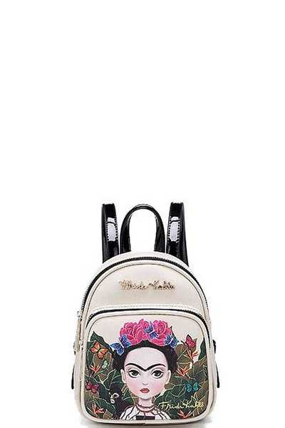 FRIDA KAHLO NATURAL FLORAL STYLISH MINI BACKPACK