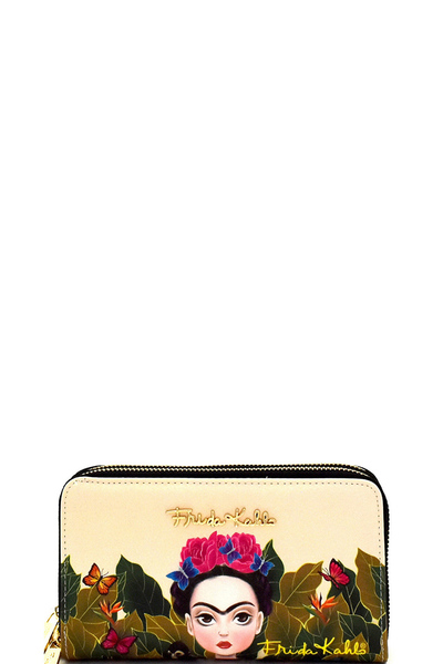 Authentic Cartoon Version Frida Kahlo Double Zip Wristlet Wallet
