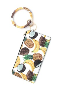 PINEAPPLE BANANA PATTERN KEY RING POUCH