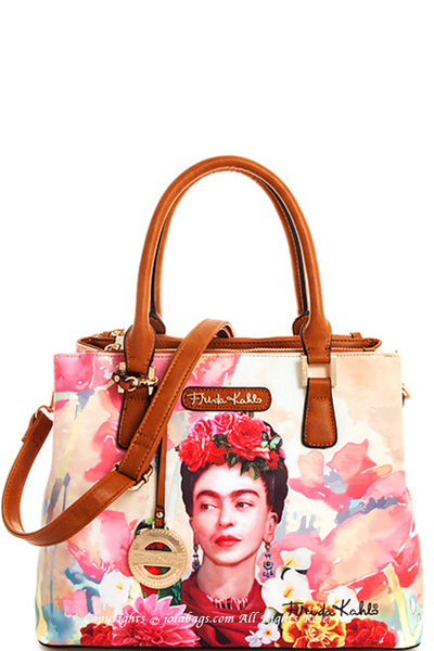 Frida Kahlo Genuine Stylish Satchel with Long Strap