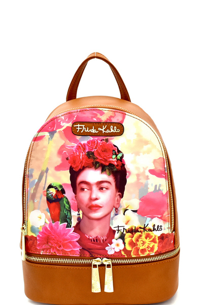 Authentic Frida Kahlo with Parrot in Flowers Front Pocket Backpack