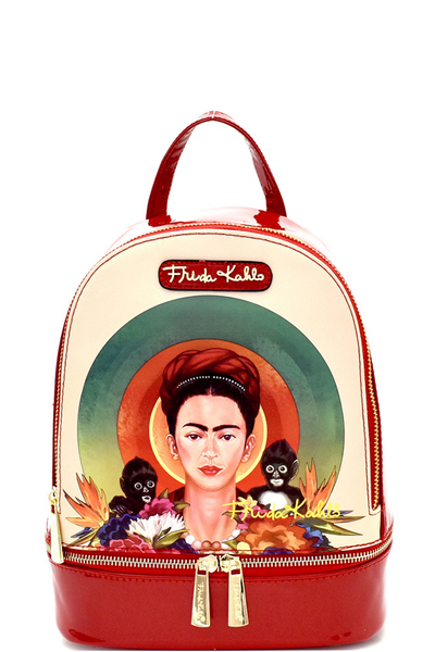 Authentic Frida Kahlo with Monkeys Front Pocket Backpack