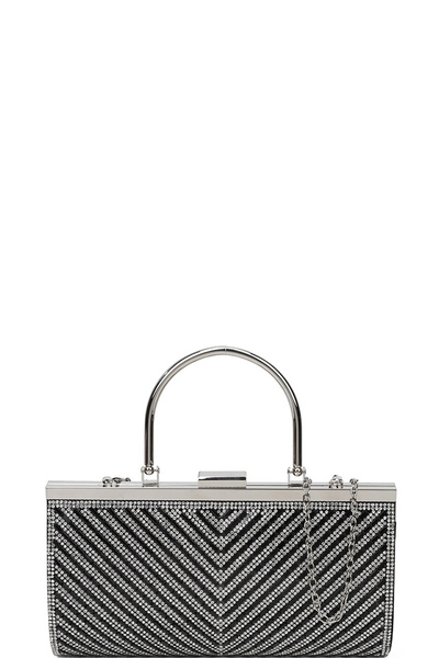 Trendy Modern Mono Tone Colored With Rhinestones Decorated Fashion Clutch