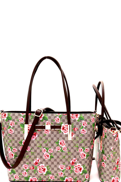 Flower Print Monogram Bow Accent Twin Tote SET
