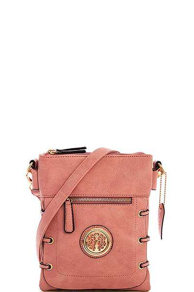 FASHION MULTI POCKET EMBLEM CROSSBODY BAG