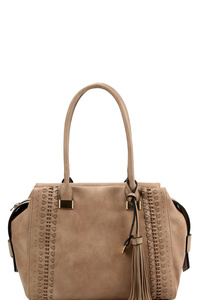 Tassel Accent Laser-Cut Woven Detail Bohemian Tote