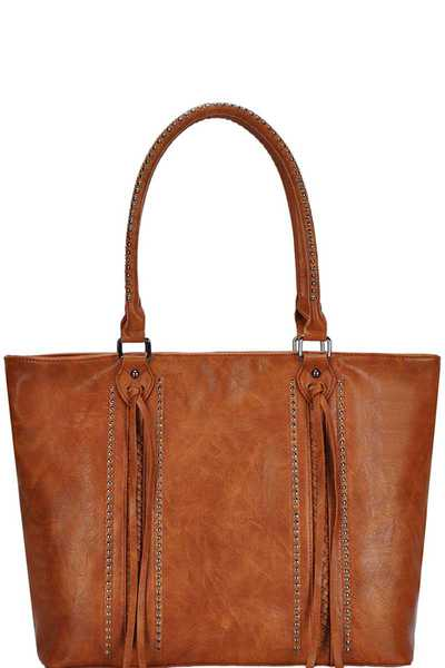 STYLISH MODERN TASSEL AND STUD SHOPPER BAG