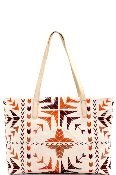 Antik Kraft Tribal Embroidered Canvas Shopper Tote