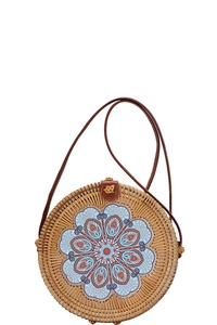 DESIGNER CHIC NATURAL WOVEN ROUND CROSSBODY BAG