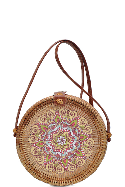 Round Bamboo Straw Woven Shoulder Bag