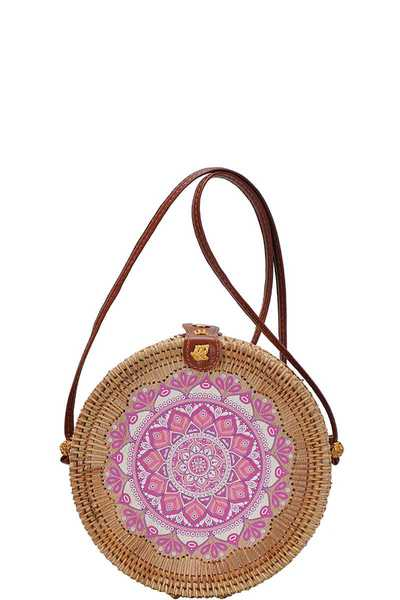 CHIC MODERN NATURAL WOVEN ROUND CROSSBODY BAG