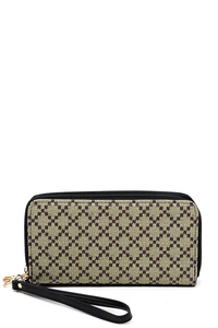 Diamond Check Zip Around Wallet Wristlet