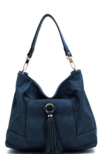 Front Tassel Pocket Shoulder Bag Hobo