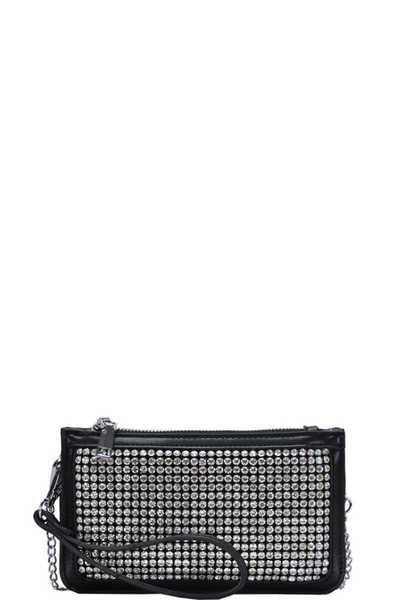 MODERN FASHION RHINESTONE FRONT CLUTCH WITH CHAIN