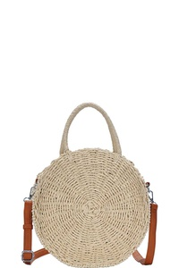 DESIGNER FASHION STRAW WOVEN CIRCLE CROSSBODY BAG