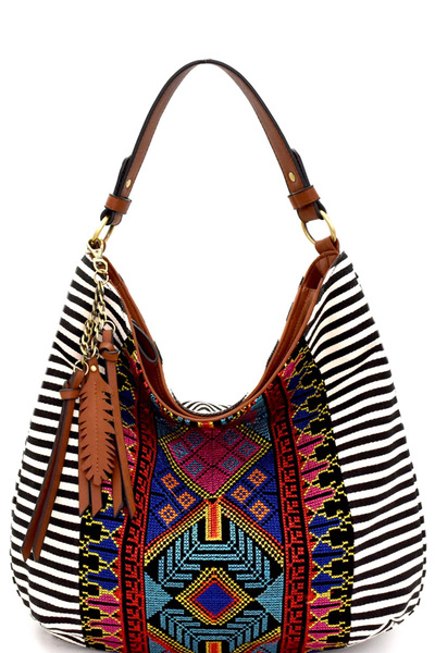MMS Aztec & Stripe Print Leaf Charm Single Strap Hobo
