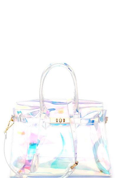 Hologram Transparent 2-Way Satchel