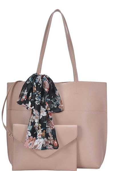 2IN1 TRENDY SILKY SCARF TOTE BAG