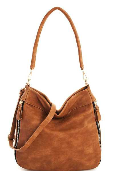 Modern Zipper Accent Shoulder Hobo with Long Strap