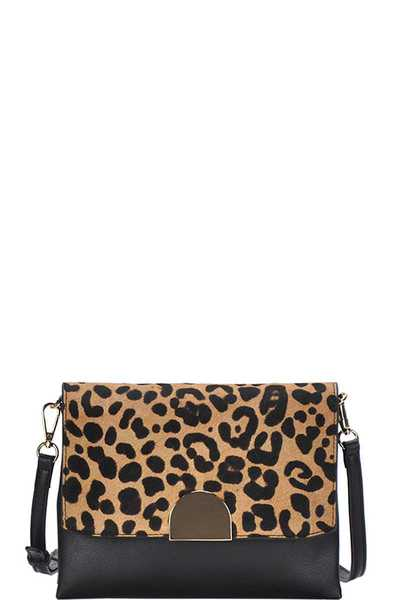 CHIC STYLISH LEOPARD FLAP CROSSBODY BAG