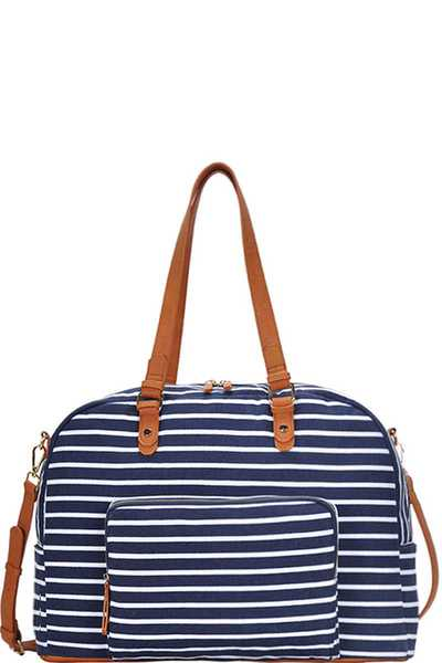 CHIC TRENDY STRIPED CANVAS SATCHEL WITH LONG STRAP