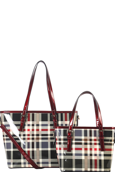 2 IN 1 TWO TONE CHECKERED TOTE BAG