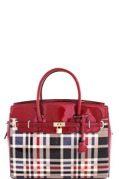 2in1 Fashion Glossy Check Satchel with Long Strap