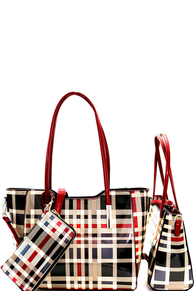Plaid Checker Print Patent 3 in 1 Twin Tote Wallet SET