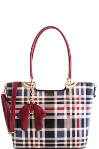 3in1 Designer Modern Check Satchel with Long Strap
