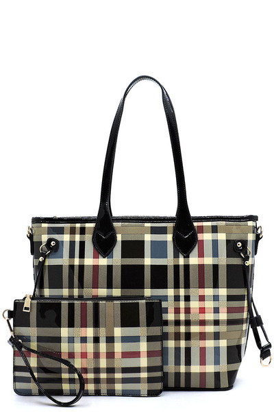 Glossy Plaid Check 2-in-1 Shopper Set