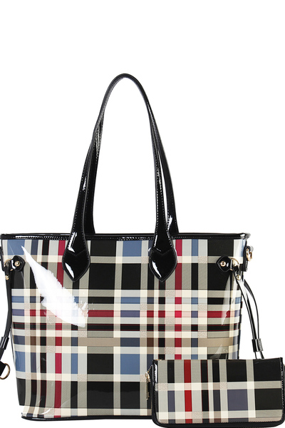 Two One Checked Tote Bag