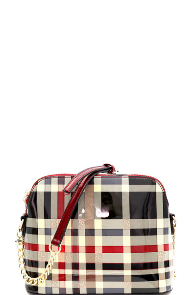 Patent Plaid Checker Print Dome-Shaped Cross Body