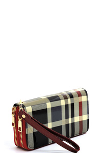 Glossy Plaid Check Double Zip Around Wallet Wristlet