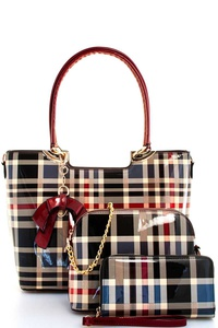 2IN1 COLOR BLOCK PLAID SATCHEL SET WITH LONG STRAP