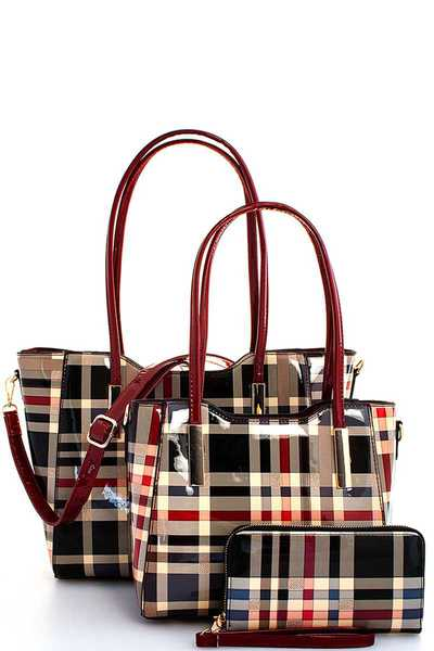 3IN1 COLOR BLOCK PLAID SATCHEL WITH LONG STRAP