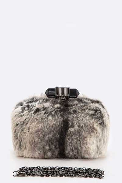 CLUTCH WITH FAUX FUR