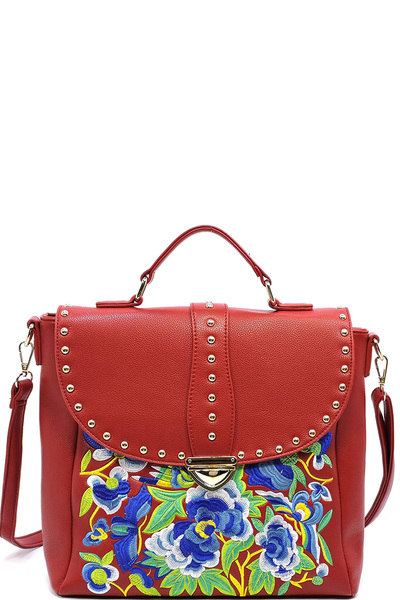 Embroidered Flower Studded Flap Satchel